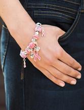 Hannah Silver-Tone Breast Cancer Awareness Pink Ribbon Charm Bracelet