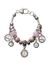 Hannah Silver-Tone Breast Cancer Awareness Heart & Ribbon Charm Bracelet