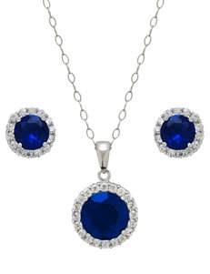 7.0 CT. T.G.W. 2-pc. Created Blue Sapphire & Cubic Zirconia Halo Necklace & Earrings Set