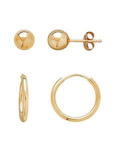 2-Pair 10K Gold Ball Stud & Hoop Earrings