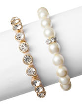 Signature Studio 2-pc. Faux Pearl and Gold-Tone Crystal Stretch Bracelet Set