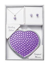 NES 3-pc. Purple Necklace, Earrings & Compact Mirror Set