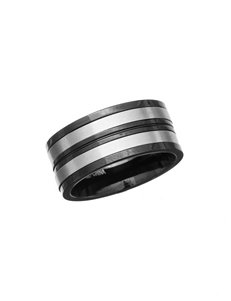 NES Black & Silver Striped Metal Ring