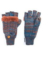 MUK LUKS Blue & Orange Marled Knit Flip Mittens