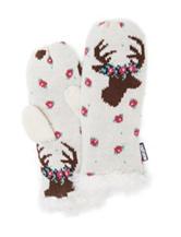 MUK LUKS Reindeer Rose Intarsia Mittens