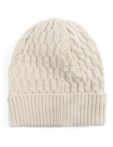 MUK LUKS Cream Lattice Knit Beanie