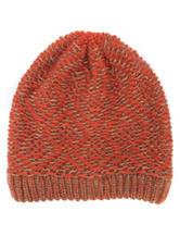 MUK LUKS Pumpkin Diamond Geo Knit Beanie