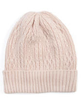 MUK LUKS Light Pink Crosshatch Knit Beanie