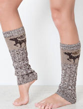 MUK LUKS Beaded Deer Brown Cable Marl Leg Warmers