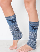 MUK LUKS Beaded Deer Blue Cable Marled Leg Warmers