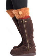 MUK LUKS Burnt Sienna Fuzzy Yarn Button Boot Toppers