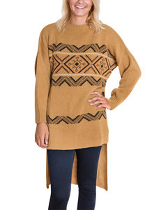 MUK LUKS Hi-Lo Camel Fair Isle Tunic Sweater