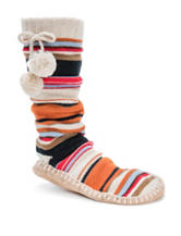 MUK LUKS Multicolor Striped Print Slipper Socks