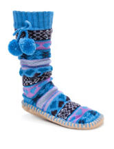 MUK LUKS Multicolor Fair Isle Print Slipper Socks