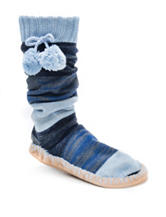 MUK LUKS Tonal Blue Stripe Print Slipper Socks