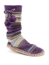 MUK LUKS Multicolor Abstract Print Slipper Socks