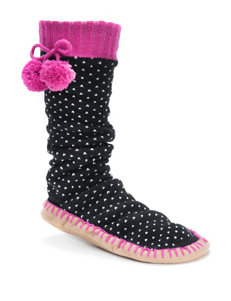 MUK LUKS Black & White Dot Print Slipper Socks