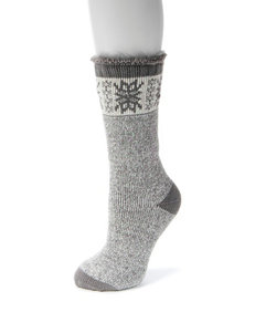 MUK LUKS Shadow Snowflake Fair Isle Print Thermal Mid Calf Socks