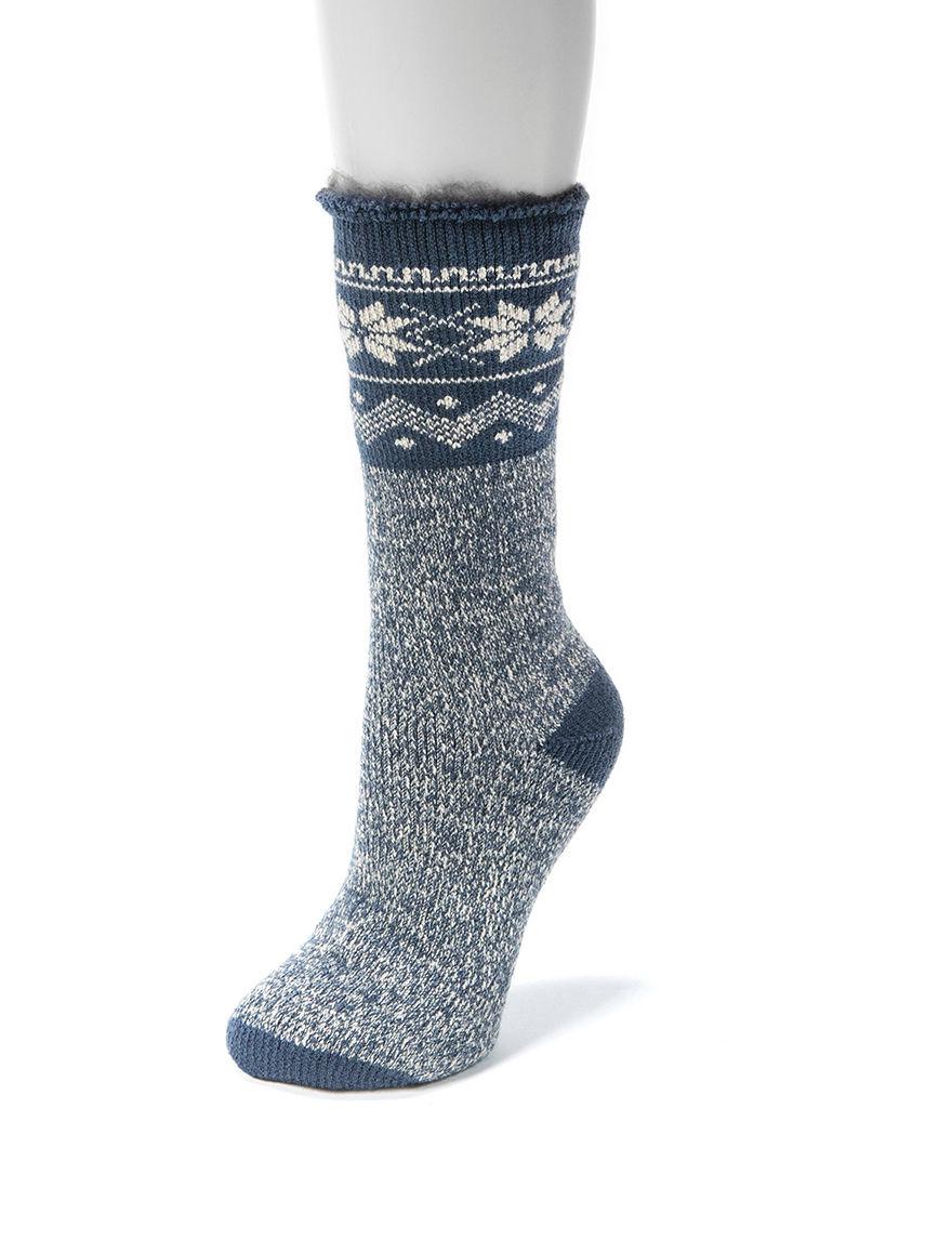 Muk Luks Blue Socks