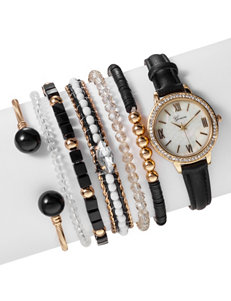 Global Time 7-pc. Gold-tone Watch & Bracelet Set