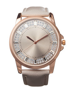 Global Time Gold-tone Grey Faux Leather Strap Watch