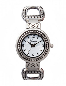 Global Time Silver-tone Etched Cuff Watch
