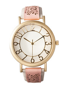 Global Time Gold-tone Case Pink & White Faux Leather Strap Watch