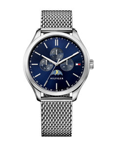 Tommy Hilfiger Blue Dial Silver-Tone Mesh Band Watch