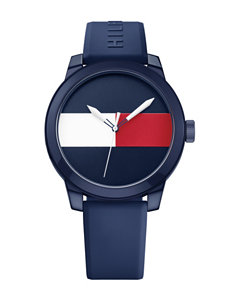 Tommy Hilfiger Logo Dial Navy Silicone Strap Watch