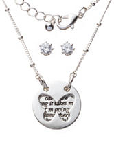 Fashion Accents 2-pc. Layered Disc Necklace & Cubic Zirconia Stud Earring Set