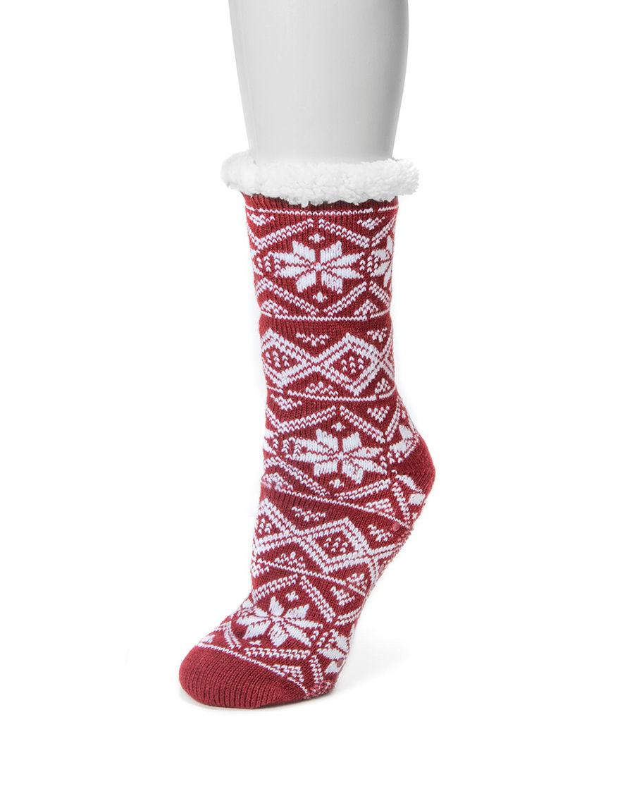 Muk Luks Red Socks