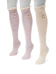 MUK LUKS 3-pk. Lace Top Knee High Socks