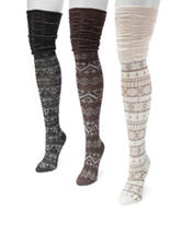 MUK LUKS 3-pk. Microfiber Neutral Fair Isle Print Over the Knee Socks