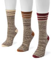 MUK LUKS 3-pk. Microfiber Color Block Boot Socks