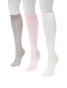 MUK LUKS 3-pk. Pointelle Ruffle Top Knee High Socks