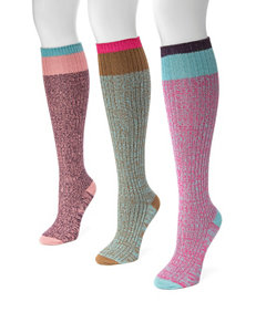 MUK LUKS 3-pk. Marled Color Block Knee High Socks