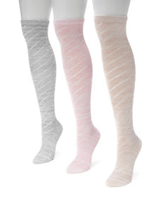 MUK LUKS 3-pk. Pointelle Marl Knee High Socks