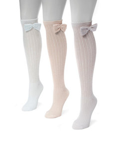 MUK LUKS 3-pk. Pointelle Bow Knee High Socks