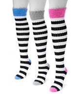 MUK LUKS 3-pk. Pointelle Stripe Color Block Knee High Socks