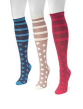 MUK LUKS 3-pk. Jacquard Stars & Stripes Knee High Socks