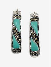 Fine Sterling Silver Plated Turquoise Hoop Earrings