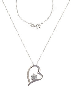 Sterling Silver & Cubic Zirconia Heart Shaped Necklace