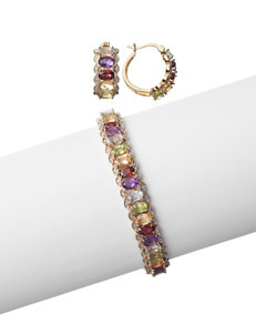PAJ Inc. 2-pc. Gold-Plated Multicolor Gemstone Bracelet & Hoop Earrings Set