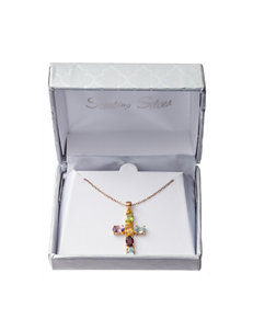 Gold-Plated Sterling Silver Multicolor Genuine Stone Cross Necklace