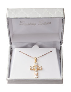Gold-Plated Sterling Silver Genuine White Topaz Cross Necklace