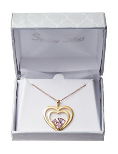 Gold-Plated Sterling Silver Genuine Amethyst Heart-in-Heart Necklace