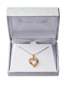 Gold-Plated Sterling Silver Multicolor Stone Heart Necklace