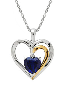 Two-Tone Sterling Silver Created Blue Sapphire Heart Pendant Necklace