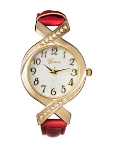 Global Time Gold-tone Cross Over Case Watch