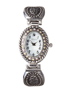 Global Time Silver-tone Rhinestone Detailed Etched Cuff Watch